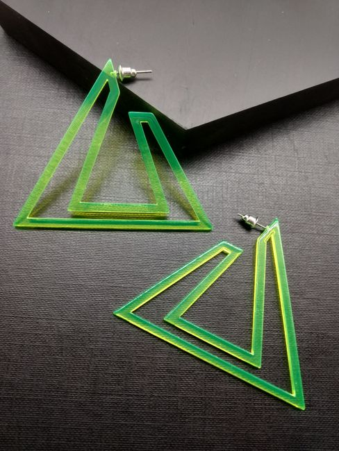 Fluorescent Green Triangular Drop Earrings