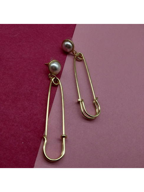 Gold-Toned Safety Pin Shaped Drop Earrings