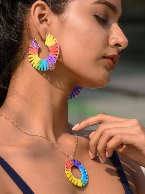 ToniQ Multicolored Raffia Hoop Earring For Women