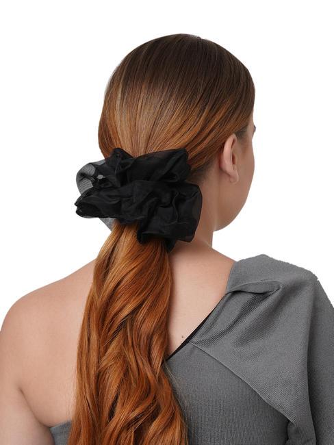 Toniq Pretty Black Gaint organza Cloud Hair Scrunchie For Women