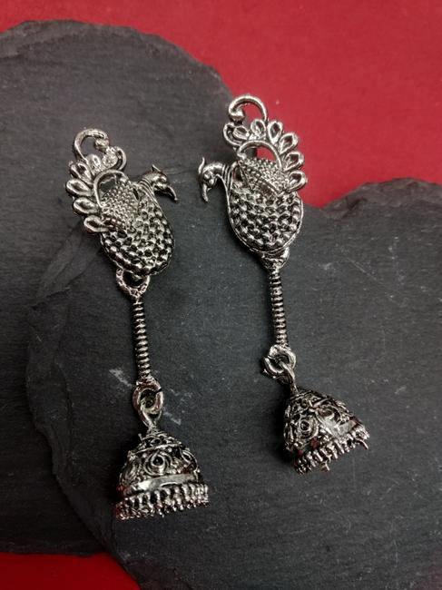 Silver Peacock Drop Earring