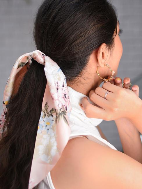 ToniQ Gardenia Pink Satin Floral Scarf Rubberband For Women