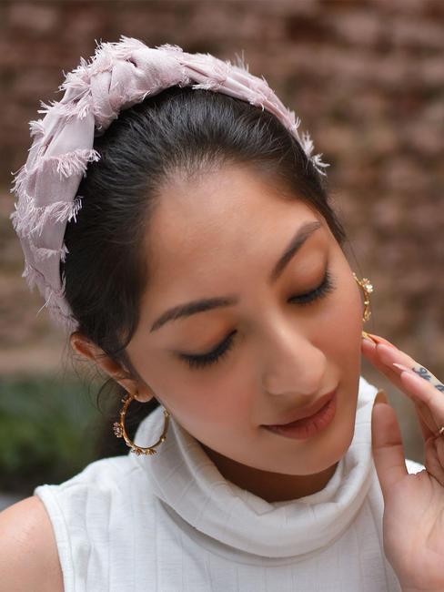 Toniq Pink Tassel Frayed Knot Hair Band For Women