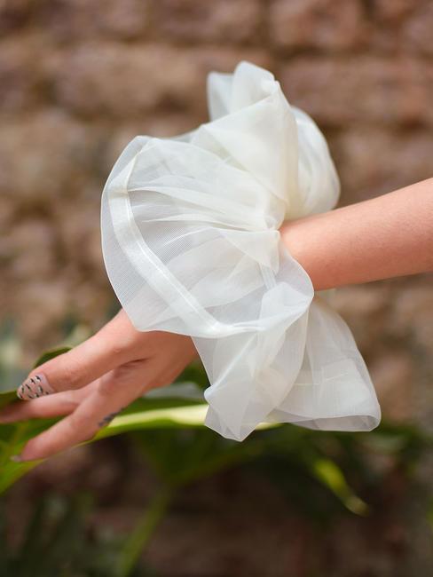 Toniq Pretty Ivory organza Gaint Cloud Hair Scrunchie For Women