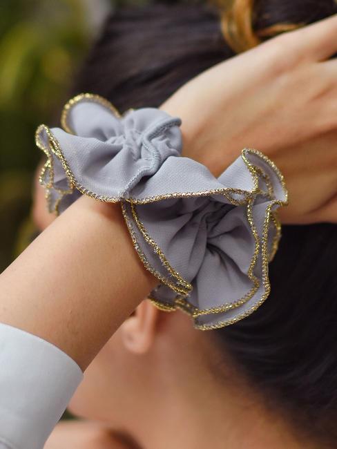 Toniq Grey Ruffled Elastic Hair Scrunchies For Women
