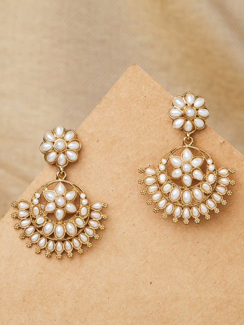 Ethnic Indian Traditional Classic Gold Pearl Embellished Chandbali Drop Earrings For Women