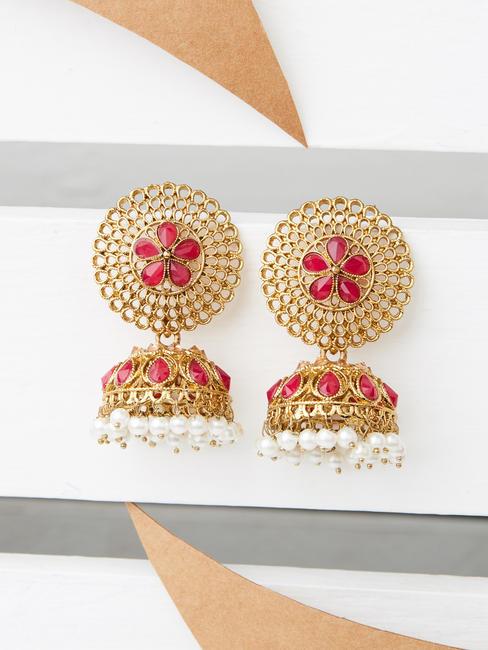 Ethnic Indian Traditional Stone Embellished Gold Jhumka For Women