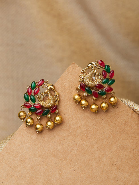 Ethnic South Indian Traditional Temple Gold Peacock Stone Embellished Stud Earrings For Women