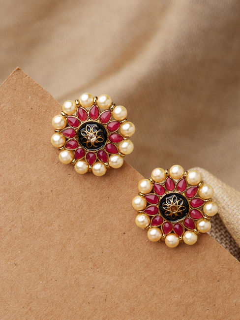 Ethnic Indian Traditional Temple Gold Pearl Pink Stone Embellished Stud Earring For Women