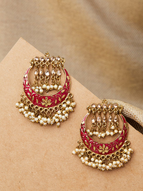 Ethnic Indian Traditional Beautiful Pearl Embellished Drop Earrings For Women
