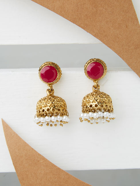 Ethnic Indian Traditional Beautiful Gold Jhumka For Women