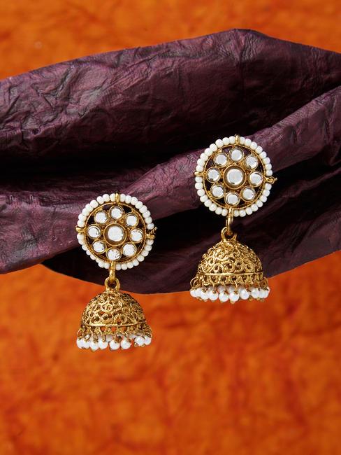 Ethnic Indian Traditional Beautifu Gold Kundan Embellished Jhumka Earrings For Women