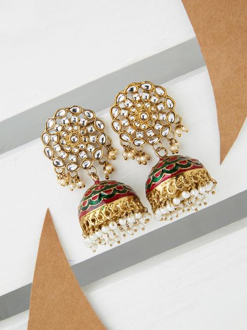 Wedding Ethnic Traditional Gold Kundan Green and Fuschia Enamel Jhumka Earrings For Women