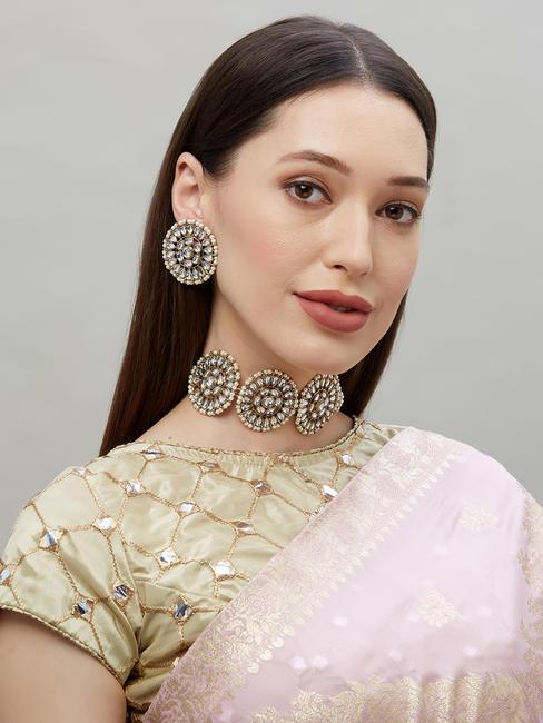 Ethnic Indian Traditional Bold Kundan Stone Embellished Necklace & Earrings Set For Women