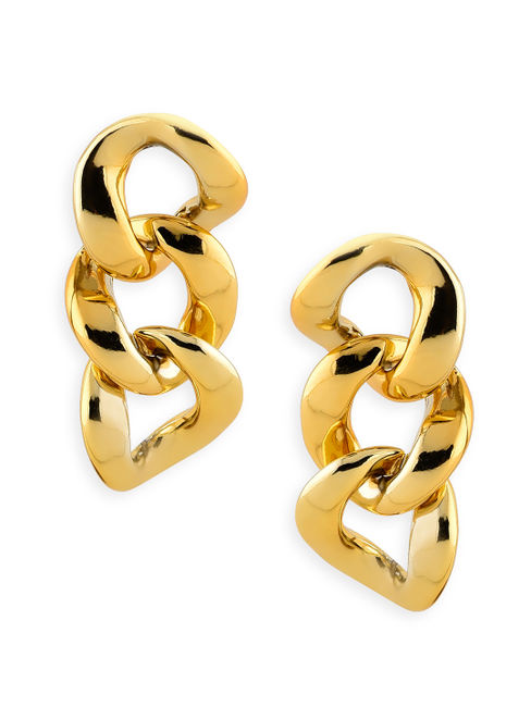Toniq Gold Stylish Bold Linked Drop Earrings For Women