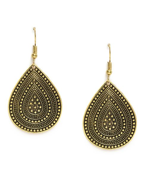 Gold-Toned Antique Teardrop Shaped Drop Earrings For Women