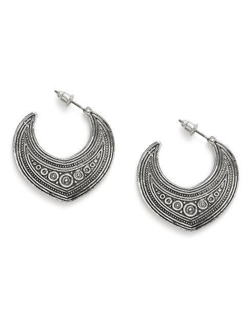 Silver-Toned Geometric Silver Tribal Fusion Half Hoop Earrings For Women