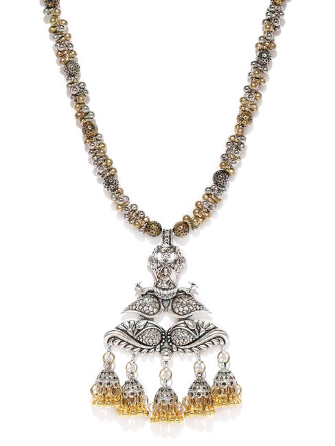 Silver-Toned & Gold-Toned Peacock Necklace