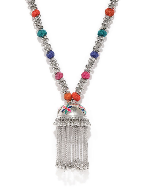 Silver-Toned Jhumka Design Necklace