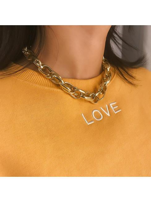 ToniQ Gigi Chain Link Gold Statement Choker Necklace For Women