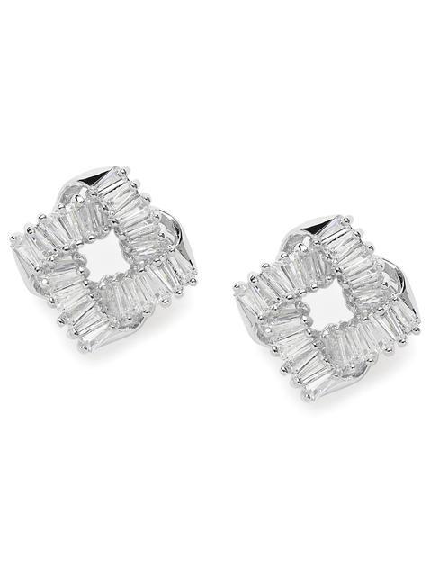 Silver-Toned & White Rhodium-Plated Geometric Studs