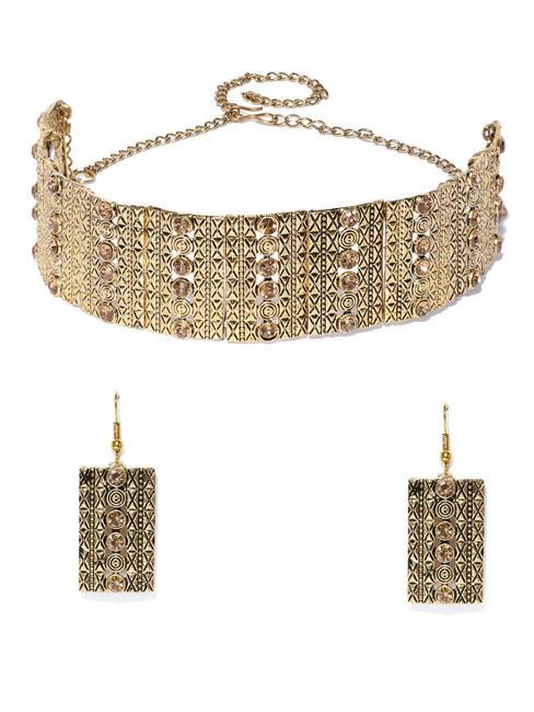 Gold-Toned Stone Studded Choker Jewellery Set