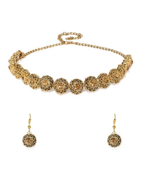 Gold-Toned Stone Studded Jewellery Set