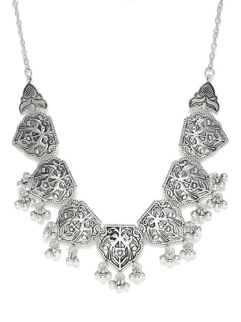 Women Silver-Toned Oxidised Necklace