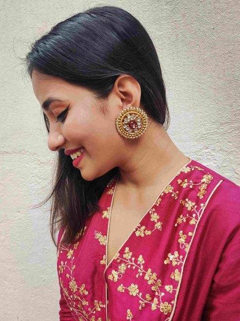 Ethnic Indian Traditional Gold Stone Embellished Round Shape Stud For Women