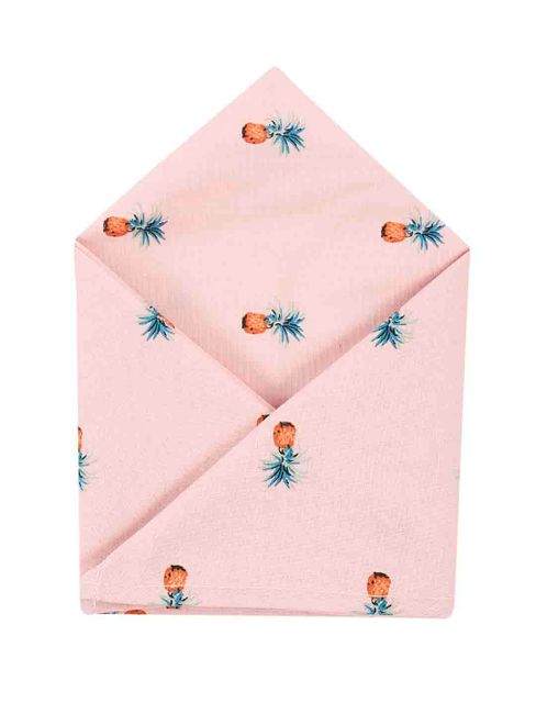 Brocode Classic Mens Pastel Pink Tropican Pineapple  Pocket Square