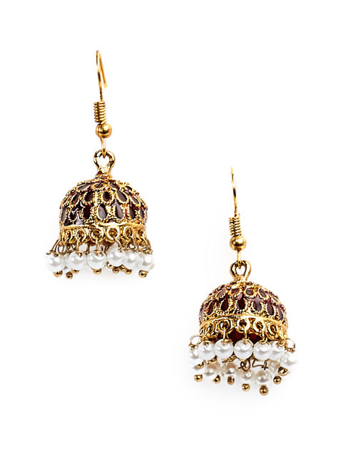 Fida Ethnic Indian Traditional Gold Pearl Jhumka For Women