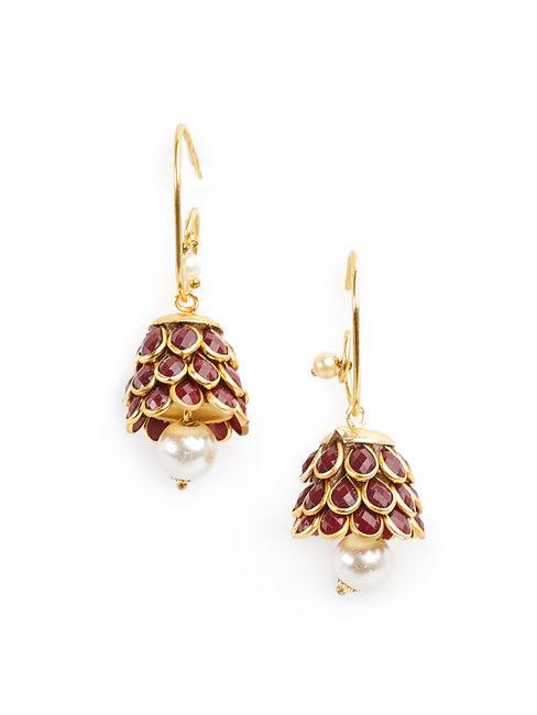 Fida Ethnic Indian Traditional Gold,Pink Jhmuka Earrings For Women