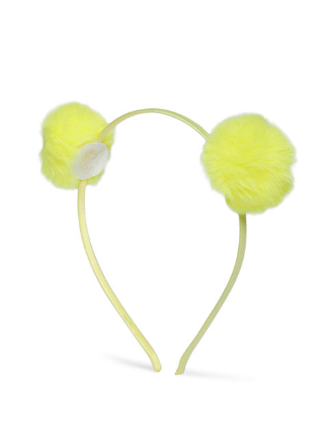 Plaful Yellow Pom Pom Hair Band for girls