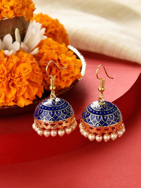 Fida Neel Gold Ethnic Traditional Navy Blue Meenakari Pearl Jhumki/ Jhumka Earrings For Women