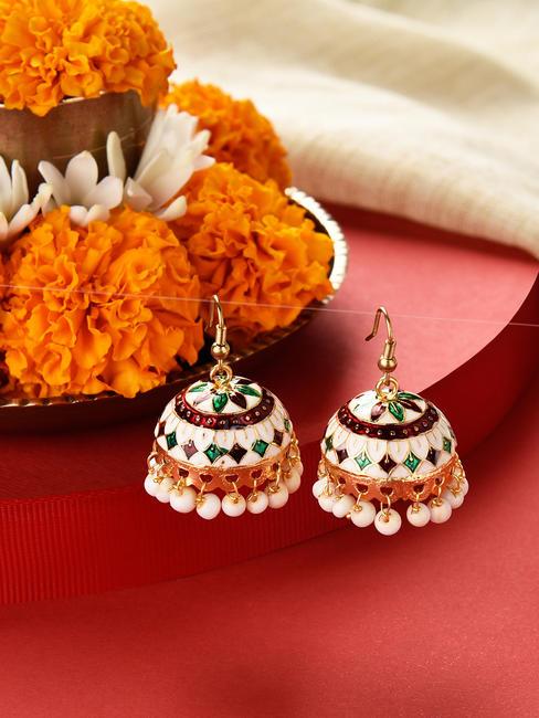 Fida  Gold Ethnic Traditional Multicolor Meenakari Pearl Jhumki/ Jhumka Earrings For Women