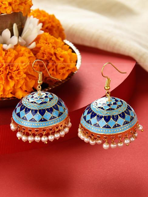 Fida Sawan Gold Ethnic Traditional Blue and Navy Meenakari Pearl Jhumki/ Jhumka Earrings For Women