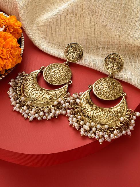 Fida Gold Wedding Ethnic Traditional Pearl Chandbali Drop Earrings For Women