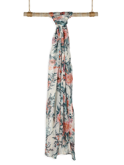 Toniq Classic Multicolor Floral Printed With Gold Lurex Scarf/Stole For Women
