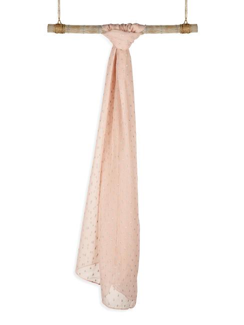Toniq Elegant Pink & Silver Foil Polka Printed Scarf/ Stoles For Women