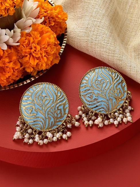 Fida  Gold Wedding Ethnic Traditional Sky Blue Meenakari Pearl Bold Stud Earrings For Women