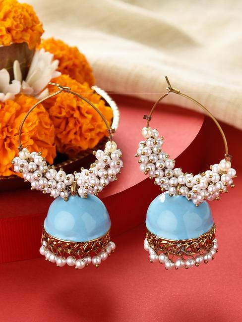 Fida Gold Wedding Ethnic Traditional Sky Blue Enamelled Pearl Hoop Earrings For Women