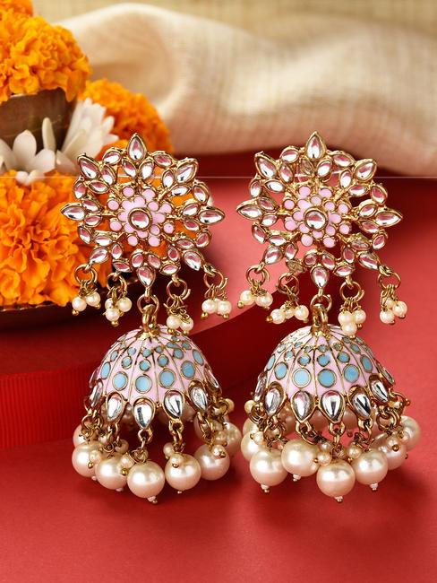 Fida Gold Wedding Ethnic Traditional Kundan Stone Pink & Blue Turquoise Enamel Jhumka/ Jhumki Earring For Women