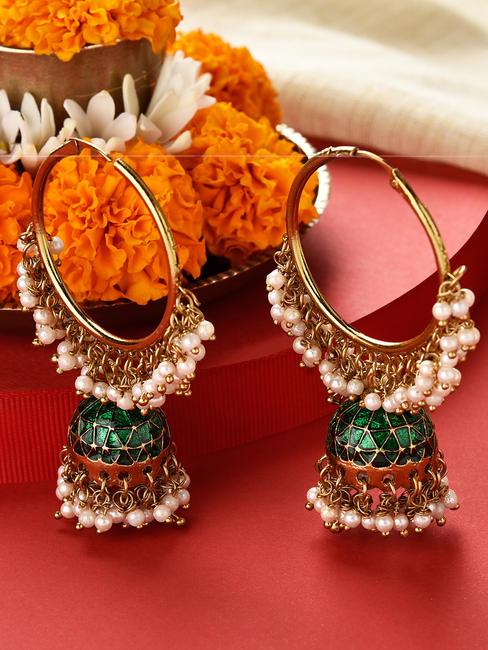 Fida Gold Wedding Ethnic Traditional Green Enamelled Pearl Jhumka/Jhumki Earrings For Women