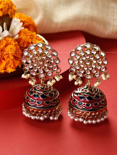 Fida Gold Wedding Ethnic Traditional Kundan Navy and Fuschia Enamel Jhumka/ Jhumki Earrings For Women