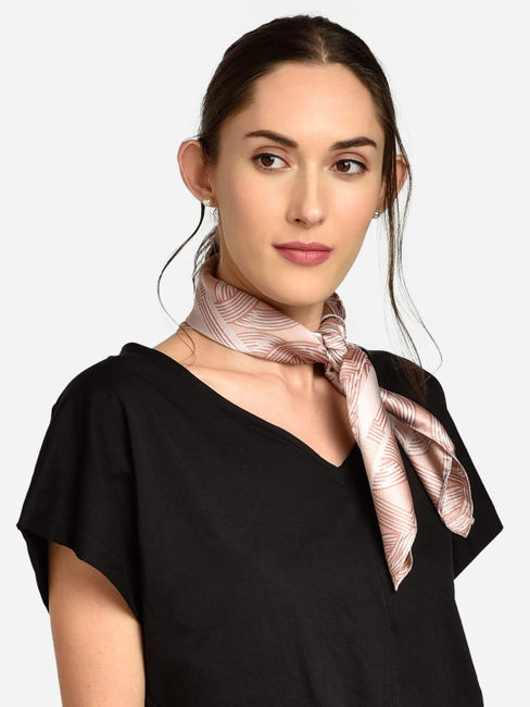 ToniQ MultiPurpose  Peach Waverly Women's Stylish Satin Square Scarf
