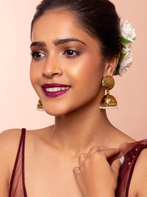 Gold Wedding Ethnic Traditional Pearl Jhumka/ Jhumki Earrings For Women
