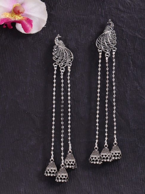 Fida Ethnic Indian Traditional Silver Multilayered Jhumka Earrings For Women
