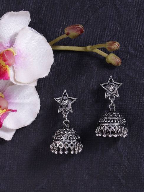Fida Ethnic Indian Traditional Silver Star Jhumka Earrings For Women