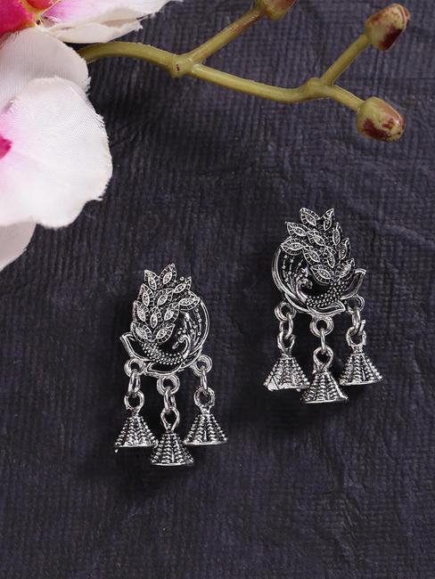 Fida Ethnic Indian Traditional Silver Jhumka Earrings For Women