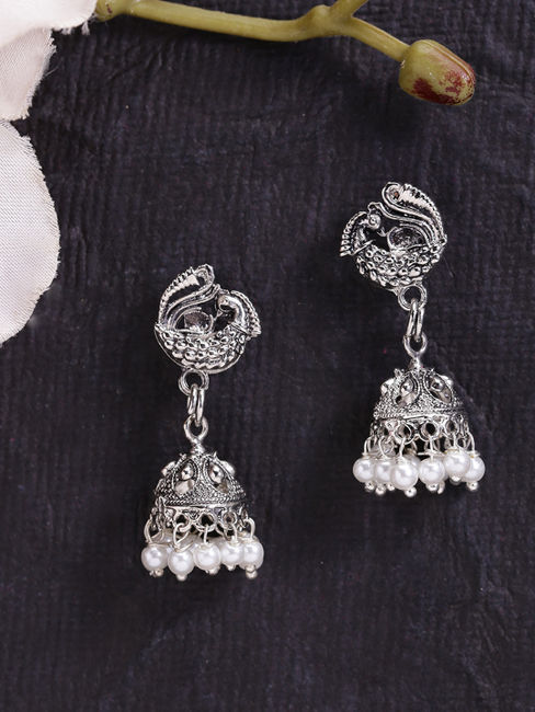 Fida Ethnic Indian Traditional Silver Peacock Engraved Jhumka Earrings For Women